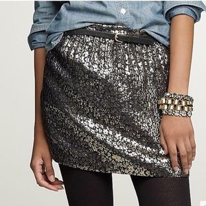 J. Crew Collection Silk Metallic Floral Mini Skirt